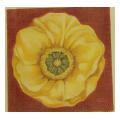 Yellow Blossom With Red Background Floral Needlepoint Canvas
