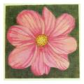 Pink Flower Green Background Needlepoint Canvas