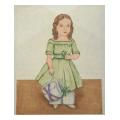 Girl with Purse Portrait Needlepoint Canvas