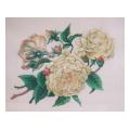 White Cabbage Roses Needlepoint Canvas