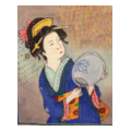 Geisha with blue kimono and fan needlepoint canvas image