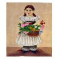 Girl with Basket Portrait Needlepoint Canvas