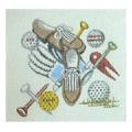 Golf Shoes, Tees and Balls Sports Needlepoint Canvas