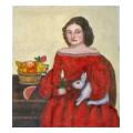 Lady with Rabbit Portrait Needlepoint Canvas