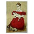 Girl with Cat Portrait Needlepoint Canvas